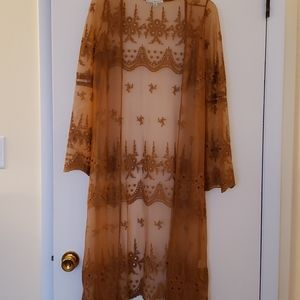 Sheer embroidered duster, size M